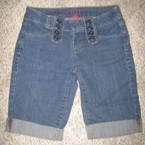 4 Pocket Long Leg Cuff Stretch Blue Jean Shorts 2